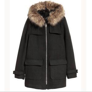 H&M Divided Wool-blend Duffel Coat Black Jacket Parka with Faux Fur Hood
